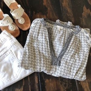 Soft Joie Patterned Peasant Top